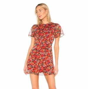 Revolve Lotte Red Mixed Floral Dress Size XS
